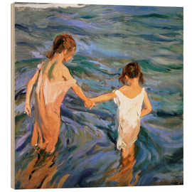 Wood print  Children in the Sea - Joaquin Sorolla y Bastida