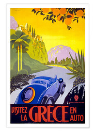 Premium poster  Visit Greece with car - Travel Collection