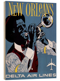 Wood print  Fly to New Orleans