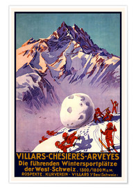 Premium poster  Winter Sports in Villars, Chesieres and Arveyes - Travel Collection