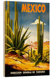 Wood print  Mexico cactus - Travel Collection
