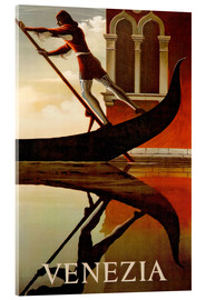 Acrylic print  Gondolier in Venice - Travel Collection