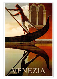 Premium poster  Gondolier in Venice - Travel Collection