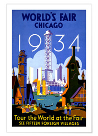 Premium poster  Chicago - Worlds Fair 1934 - Travel Collection