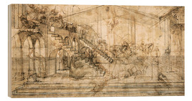 Wood print  Perspective Study for the background of the Adoration of the Magi - Leonardo da Vinci