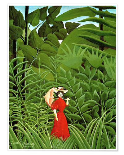 Premium poster Woman in red in forest