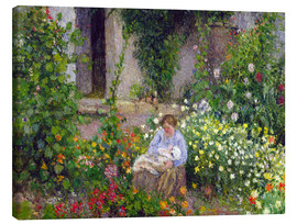 Canvas print  Mother and Child in the Flowers - Camille Pissarro