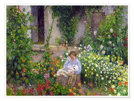 Premium poster Mother and Child in the Flowers