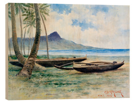 Wood print  Diamond Head, Hawaii, 1886 - J.P. Strong