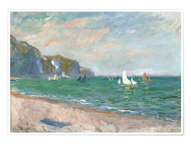 Premium poster  Boats under the cliffs of Pourville - Claude Monet