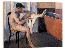 Wood print  Man drying his leg - Gustave Caillebotte