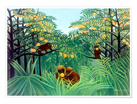 Premium poster  Apes in the Orange Grove - Henri Rousseau