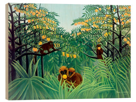 Wood print  Apes in the orange grove - Henri Rousseau
