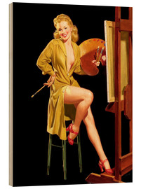Wood print  Pin up with a color palette - Al Buell