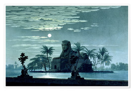 Premium poster Garden scene with the Sphinx in the moonlight