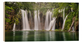 Wood print  Paradise like waterfall in plitvice - Andreas Wonisch