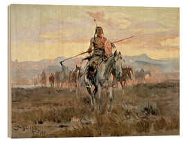 Wood print  Stolen horses, 1911 - Charles Marion Russell