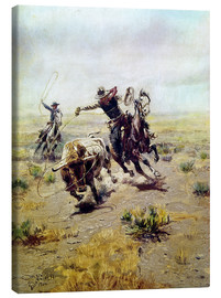 Canvas print  Cowboy catches a bull - Charles Marion Russell