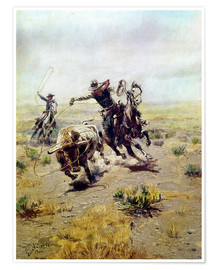 Premium poster  Cowboy catches a bull - Charles Marion Russell