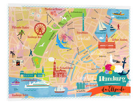 Acrylic print  Colorful city map Hamburg - Elisandra Sevenstar