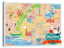 Canvas print  Colorful city map Hamburg - Elisandra Sevenstar