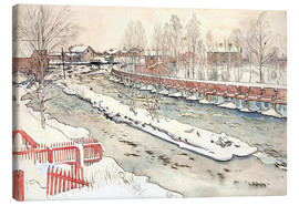 Canvas  The Timber Chute, Winter Scene - Carl Larsson