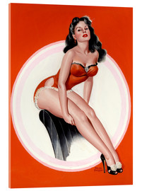 Acrylic print  Brunette in Red Bathing Suit - Peter Driben