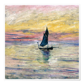 Premium poster  Sailboat evening - Claude Monet