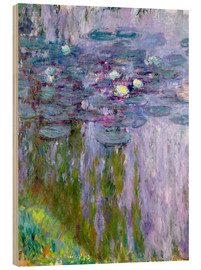 Wood print  Waterlilies - Claude Monet