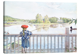 Canvas  Lisbeth angling - Carl Larsson