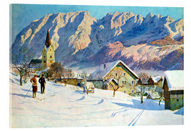 Acrylic glass  Mitter village in Austria, watercolor - Gustave Jahn