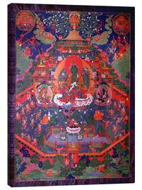 Canvas  Thangka depicting Green Tara - Tibetan School
