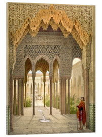 Acrylic glass  The Court of the Lions, the Alhambra, Granada, 1853 - Léon Auguste Asselineau