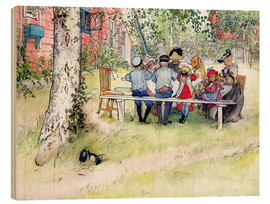 Wood print  Breakfast under the big birch - Carl Larsson
