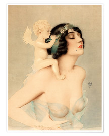 Premium poster  Girl with Angel - Alberto Vargas