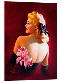 Acrylic print  Glamour Pin Up with Pink Orchids - Art Frahm