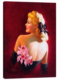 Canvas  Glamour Pin Up with Pink Orchids - Art Frahm