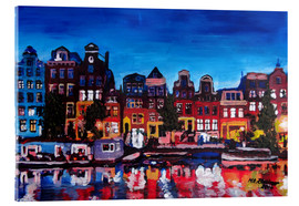 Acrylic print  Amsterdam Channel at Night - M. Bleichner