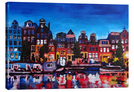 Canvas  Amsterdam Channel at Night - M. Bleichner
