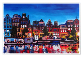 Premium poster  Amsterdam Channel at Night - M. Bleichner