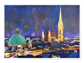 Premium poster Vienna Skyline at Night with St Stephan