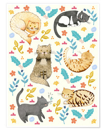 Premium poster Cat family II