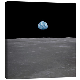 Canvas  Apollo 11 - rising of the earth above the moon