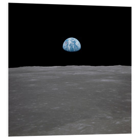 Foam board print  Apollo 11 - rising of the earth above the moon