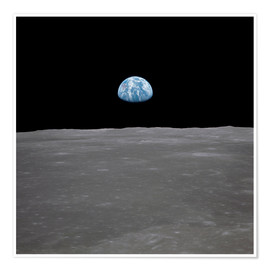 Premium poster  Apollo 11 - rising of the earth above the moon