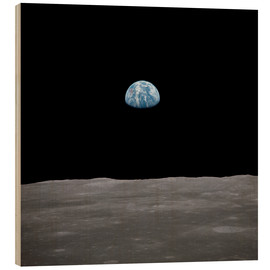 Wood print  Apollo 11 rise of the earth above the moon,  July 1969