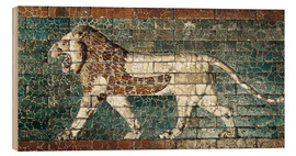 Wood print  Lion mosaic at the temple of Babylon