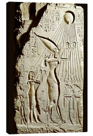 Canvas  Pharaoh Akhenaten pays homage to the sun god Aten