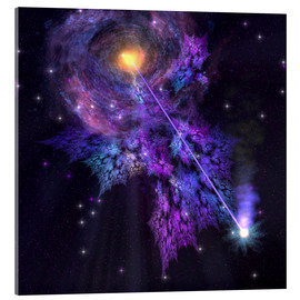 Acrylic print  A shooting star radiates out from a black hole in the center of a galaxy. - Corey Ford