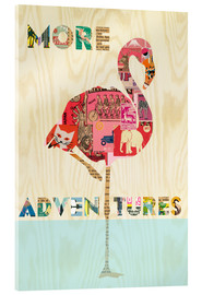Acrylic print  Flamingo Collage auf Holz - GreenNest